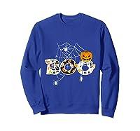 Halloween Boo Breast Cancer Awareness Pumpkin Month T Shirt Sweatshirt Royal Blue