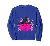 Pink Ribbon Pumpkin Halloween Breast Cancer Awareness Month T Shirt Sweatshirt Royal Blue
