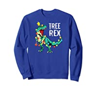 Christmas Tree Rex Shirts Dinosaur T-rex Raglan Baseball Tee Sweatshirt Royal Blue