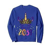Unicorn Face Class Of 2034 First Day Kindergarten Girls Gift T-shirt Sweatshirt Royal Blue