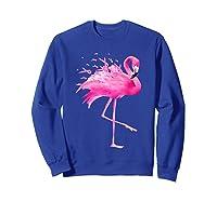 Funny Flamingo Breast Cancer Awareness October Ribbon Pink T Shirt Sweatshirt Royal Blue