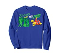Cute Zombies Hate Fast Food For Couch Potatoes Shirts Sweatshirt Royal Blue