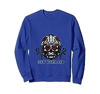 New England Football Helmet Sugar Skull Day Of The Dead T Shirt Sweatshirt Royal Blue