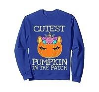 Cutest Pumpkin In The Patch Unicorn Halloween Girls Gift Shirts Sweatshirt Royal Blue