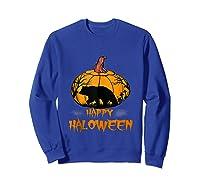 Bear Pumpkin Happy Halloween Costume Shirts Sweatshirt Royal Blue