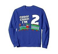 I'm Two Train 2nd Birthday Boy 2 Train Gift Shirts Sweatshirt Royal Blue