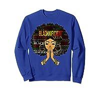 Blacknificient Words Art Afro Natural Hair Black Queen Gift Shirts Sweatshirt Royal Blue