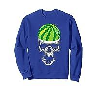 Skull Watermelon Cool Summer Fruit Melon Lover Gift Shirts Sweatshirt Royal Blue