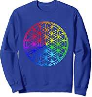 Blume Des Lebens Heilige Geometrie Spirituell Zen Yoga T-shirt Sweatshirt Royal Blue
