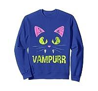 Halloween Scary Cat Vampire Vampurr Girl Shirts Sweatshirt Royal Blue