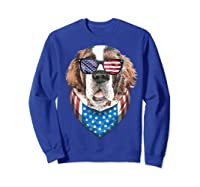 Fourth Of July Bernard American Flag July 4th St Bernard Dog T Shirt Sweatshirt Royal Blue
