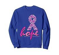 Hope Pink Ribbon Breast Cancer Awareness Month T Shirt Sweatshirt Royal Blue