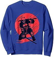Marvel Deadpool Red Moon Samurai Graphic T-shirt Sweatshirt Royal Blue