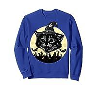 Vintage Scary Halloween Black Cat Witch Hat Moon Pumpkin Bat T Shirt Sweatshirt Royal Blue