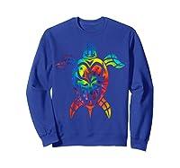 Save Sea Turtles Rainbow Tie Dye Hawaiian Shirts Sweatshirt Royal Blue