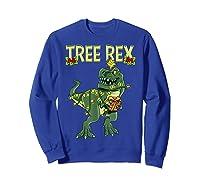 Tree Rex Shirt Christmas T Rex Dinosaur Pajama T-shirt Sweatshirt Royal Blue