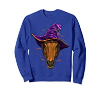 Horse Witch Hat Funny Halloween Gifts Horse Lover Whisperer T Shirt Sweatshirt Royal Blue