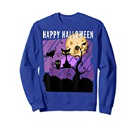 Spoopy Funny Halloween Black Cat Witch Hallow S Eve Joke T Shirt Sweatshirt Royal Blue