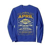 April 2010 Vintage 9th Birthday 9 Years Old Gift Shirt Sweatshirt Royal Blue