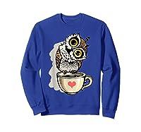 Cute Owl Cartoon Bird Hand Draw T Shirt Design Sweatshirt Royal Blue