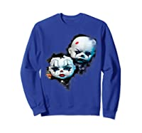 Creepy Evil Clown Halloween T-shirt Sweatshirt Royal Blue