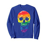 Lgbt Gay Pride T-shirt Skull Rainbow Sweatshirt Royal Blue