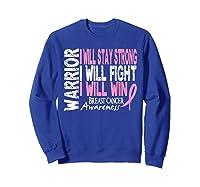 Breast Cancer Awareness Month Pink Ribbon Warrior T Shirt Sweatshirt Royal Blue