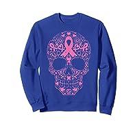 Sugar Skull Pink Ribbon Calavera Breast Cancer Awareness T Shirt Sweatshirt Royal Blue