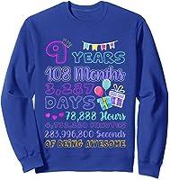 9 Years Old Gifts 9th Birthday Shirt Countdown T-shirt Sweatshirt Royal Blue
