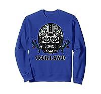 Oakland Football Helmet Sugar Skull Day Of The Dead T Shirt Sweatshirt Royal Blue