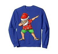 Dabbing Santa Christmas In July Party Hawaiian Santa Beach Shirts Sweatshirt Royal Blue