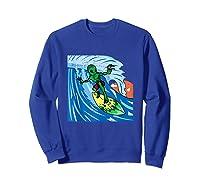 Area-51 Alien Surfing Ocean Wave Lazy Surfer Halloween Gift Tank Top Shirts Sweatshirt Royal Blue