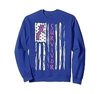 Us Flag Survivor Breast Cancer Awareness Month Pink Ribbon T Shirt Sweatshirt Royal Blue