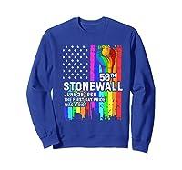 Stonewall Riots 50th Lbgtq Gay Pride American Flag Shirts Sweatshirt Royal Blue
