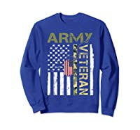 American Flag Camo Proud Us Army Veteran T-shirt Sweatshirt Royal Blue