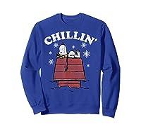 Peanuts Snoopy Holiday Chillin Shirts Sweatshirt Royal Blue