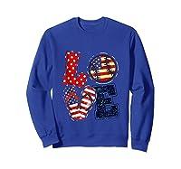 Love Softball Usa Flag 4th Of July Flip Flop Softball Usa Shirts Sweatshirt Royal Blue