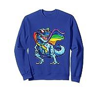 Dinosaur Gay Pride Lgbt Rainbow Flag Lesbian Bisexual T Rex Shirts Sweatshirt Royal Blue