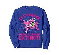 Dinosaur Pink Ribbon Breast Cancer Awareness Month October T Shirt Sweatshirt Royal Blue