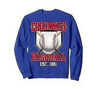 Cincinnati Baseball Retro Vintage Baseball Design Shirts Sweatshirt Royal Blue