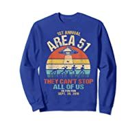 Area 51 5k Fun Run Shirt. Retro Style Funny Ufo, Alien T-shirt Sweatshirt Royal Blue