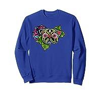 Black Pug Day Of The Dead Sugar Skull Dog Shirts Sweatshirt Royal Blue