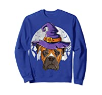 Boxer Witch Hat Funny Halloween Gifts Dog Lover Girls T-shirt Sweatshirt Royal Blue