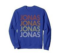 Jonas First Given Name Pride Vintage Style T Shirt Sweatshirt Royal Blue