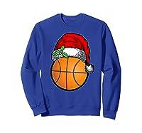Ball Basketball Santa Hat Christmas Matching Funny Gifts Shirts Sweatshirt Royal Blue
