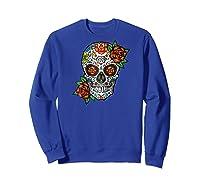 Dia De Los Muertos / Day Of The Dead Sugar Skull Graphic Raglan Baseball Ts Shirts Sweatshirt Royal Blue