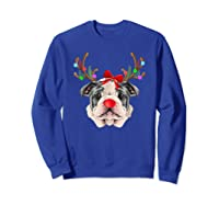 Funny Bulldogs With Antlers Light Christmas Shirts Sweatshirt Royal Blue