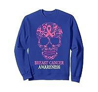 Breast Cancer Awareness Month Skull Halloween Shirts Sweatshirt Royal Blue