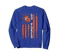 Oklahoma State Cow Nation Flag Apparel Shirts Sweatshirt Royal Blue