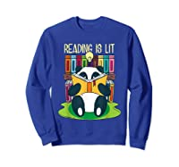 Reading Is Lit Panda Bear Funny English Tea Tee T Shirt Sweatshirt Royal Blue